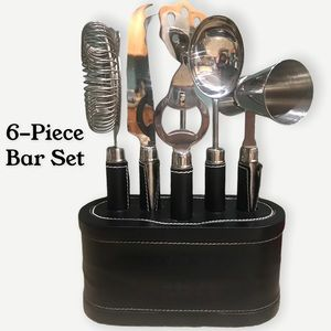 6 Piece Bar Set• Faux Leather detail